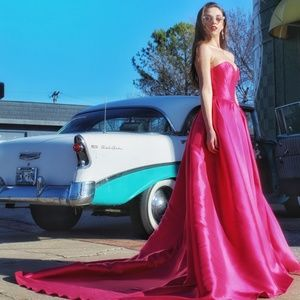 JOVANI Electric Pink Ball Gown *TRAIN*! #39493TBoutique for sale